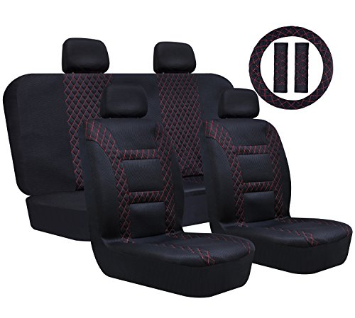 Super Accessories Auto Car Seat Cover Front & Rear Car Seat Covers Full Set Universal Healthy Breathable for Car SUV Truck & Van – Black & Red