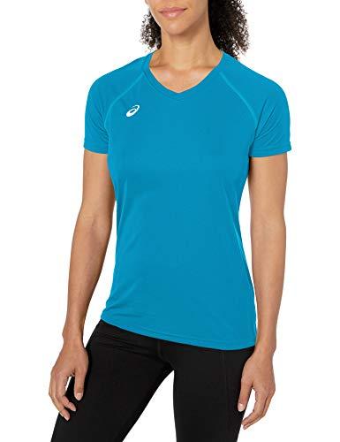 ASICS Damen Circuit 8 Warm-up Shirt kurzärmelig, Blau-Atomic Blue, Large