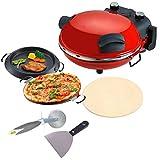 PIZZA MAKER Fornetto con PIETRA REFRATTARIA con Kit Pizza: 2 PADELLE removibili, ROTELLA TAGLIAPIZZA e SPATOLA per impasto, forno per pizza express, 15 x 35 cm
