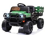 HOOSENG 12V Kids Ride On Truck - Stunning Electric Power Wheels Car Trailer & Shovel- Parental Remote Control, Anti Skid Tires, LED Lights, Safety Belt, Build-in FM, MP3 Player - Green