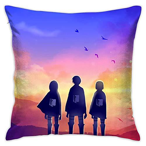 Bosbweo Funda de sofá Attack On Titan Eren y Mikasa para sala de estar, decoración de casa de campo, funda de almohada decorativa de 45,7 x 45,7 cm