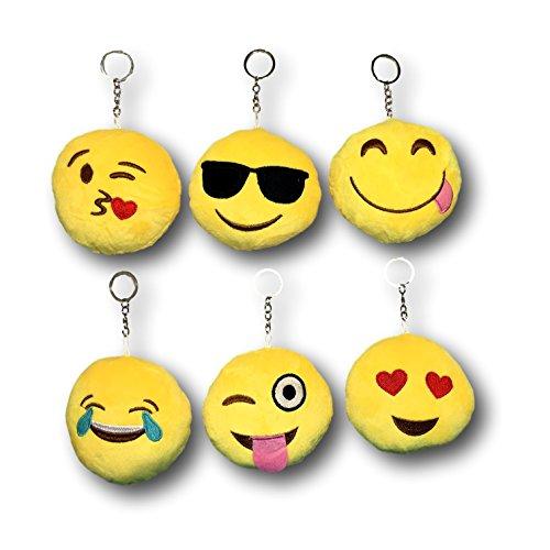EKNA Emoticon | Plüsch Schlüsselanhänger mit Ring | Smiley | 6er Set