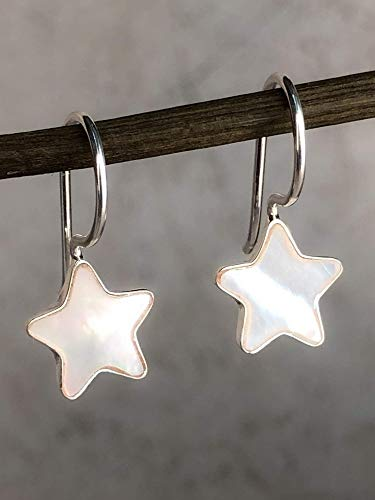 Ohrringe Perlmutt Stern aus Silber 925 Sterling - Weiße Ohrhänger mit Geschenkbox