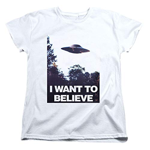 X-Files I Want to Believe Aliens UFO Women's T Shirt & Stickers (Large) White