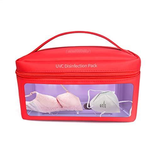 Caja de bolsa de esterilizador UV, bolsa de desinfección UV LED recargable USB portátil, limpiador UV LED, bolsa de esterilización de viaje UV para teléfono celular, biberón, ropa interior, rojo
