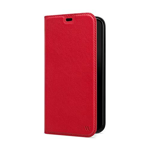 WIIUKA Hülle für iPhone 12/12 Pro Lederhülle, Deutsches Premium Leder, mit Kartenfach, extra Dünn, Handyhülle mit Standfunktion, Tasche Rot