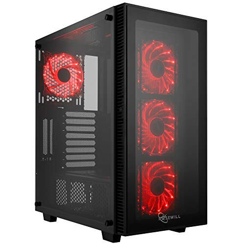Rosewill ATX Mid Tower Gaming PC Computer Case with Red LED Fans, 360mm AIO Water Cooling Radiator Support, 3 Sided Tempered Glass, Great Cable Management/Airflow - CULLINAN MX-Red