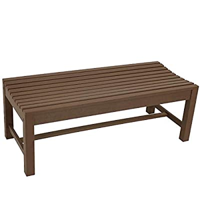 Sunnydaze Shandon Outdoor Backless Bench - Waterproof and Weather-Resistant Faux Wood HDPE Patio Furniture - Outside Seating for Lawn, Garden, Balcony and Backyard - 50-Inch - Brown