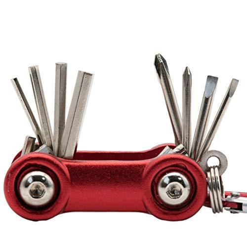 Schlüsselanhänger Werkzeug Schraubenzieher Schraubendreher Schlitz Kreuzschlitz Mini (Rot)