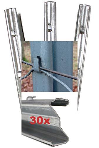 30x Z-Profil Zaunpfosten 2 m verzinkt Zaunpfähle inkl. Haken | Metallzaunpfosten für Wildzaun Weidezaun Drahtzaun Wildschutzzaun Knotengeflecht Zaun Forstprofil Forstzaun