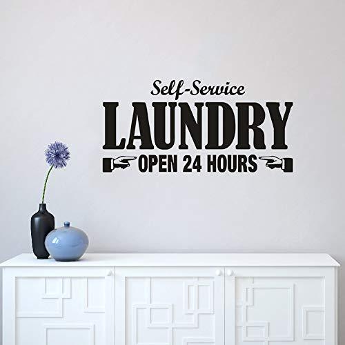yaonuli Waschmaschine Wandtattoos Selbstöffnungszeiten Service Text Waschmaschine Wandwaschraumdekoration herausnehmbare Waschküche Beschilderung42x20cm