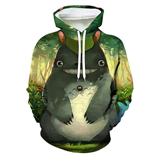 Unisex Kapuzenpullover 3D Bedruckte Anime Totoro Hoodie Langarm Sweatshirt Mit Taschen Für Damen Herren,XXS