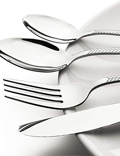 Silverware-Set-Stainless-Steel-Flatware-Sets, Heavy Duty 20 Piece Knives Forks and Spoons set, for Silver Ware Service 4