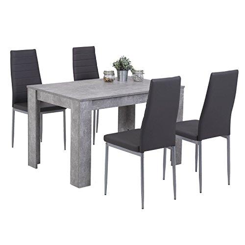 Eternity-Möbel Essgruppe Esstischset MALMÖ 5-teilig Tisch Beton + 4 Stühle Kunstleder grau