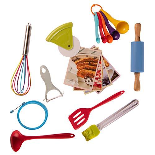 Riki's Kingdom kids Cooking Utensil Set-Safe Kitchen Tools, Rolling Pin/Spatula/Whisk/Ladle/Pastry Brush/Pizza Cutter/Veggie Peeler, Recipe Cards (Cooking set)