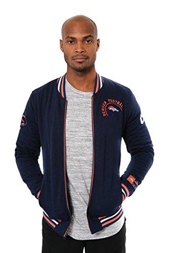 Ultra Game NFL Denver Broncos Mens Full Zip Fleece Vintage Letterman Varsity Jacket, Team Color, Medium