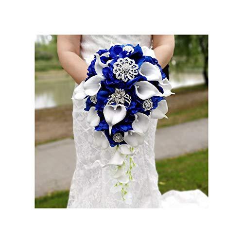 today-store-artificial-flowers Wasserfall Royal Blue Hochzeit Blumen Brautstrauß Künstliche Perlen Kristall Hochzeit Bouquets Bouquet De Mariage Rose, königsblau, Royal Blue