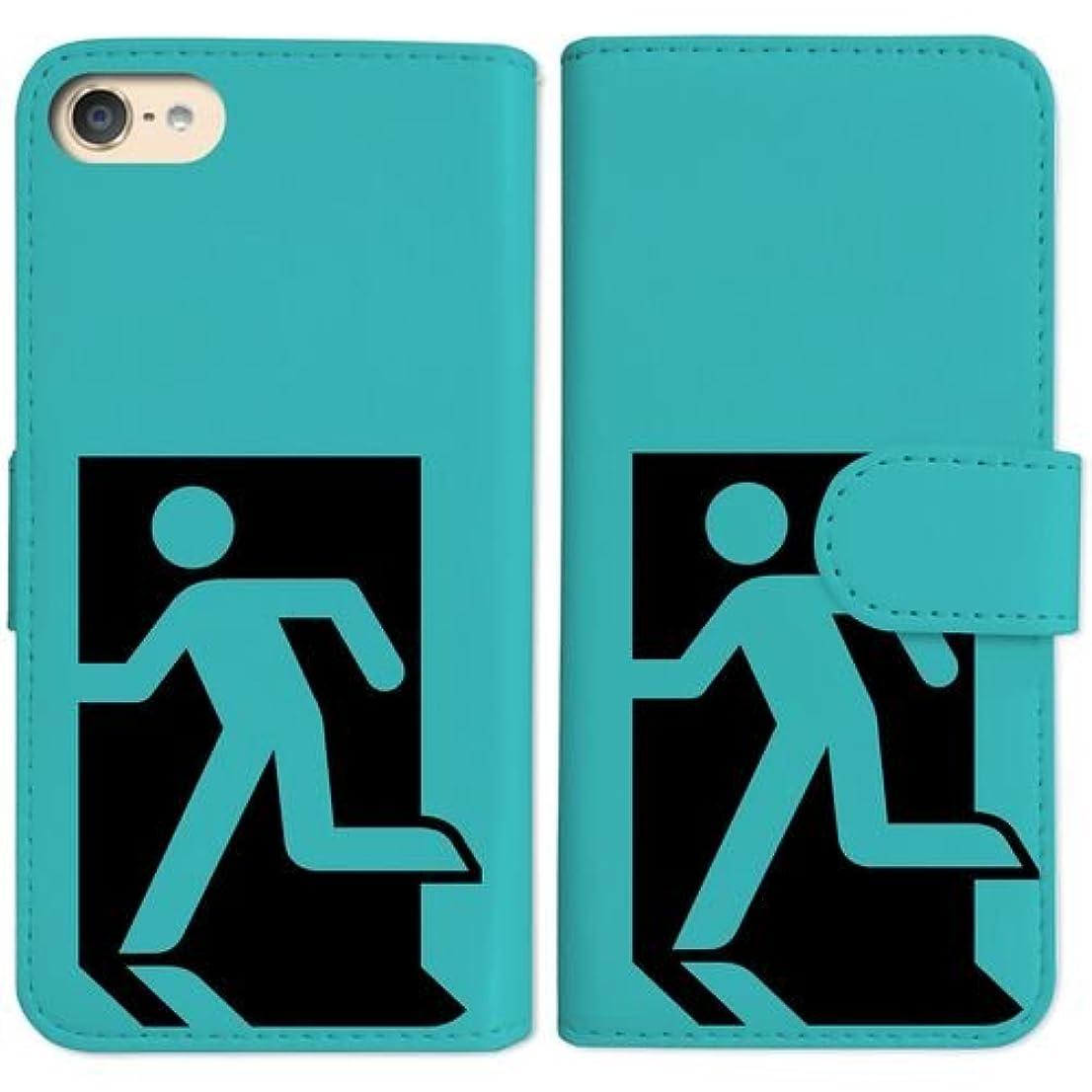手紙を書く流倍率sslink iPod touch6 アイポッドタッチ6 手帳型 ブルー ケース 非常口(ブラック) ダイアリータイプ 横開き カード収納 フリップ カバー