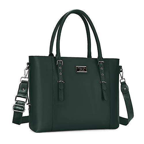 MOSISO Laptop Tote Bag (Up to 13.3 Inch), Water Resistant PU Leather Shoulder Briefcase Handbag Compatible with MacBook & Notebook Large Capacity with Padded Compartment, Storm Green