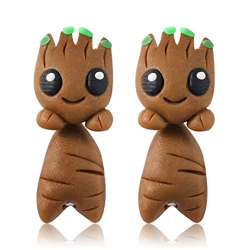 Handmade Polymer Clay Cute Guardians of the Galaxy Groot Earrings