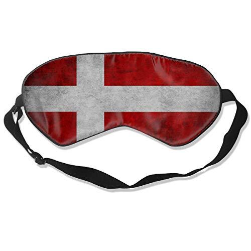 Slaapmasker, Oogmasker, Ultra Zachte Natuurlijke Zijde Stof en Katoen Gevulde Slaapoog Masker met Verstelbare Band voor Mannen, Vrouwen en Kinderen, Vlag Scandinavië Europa Denemarken