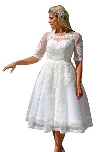 Unbekannt Brautkleid Spitze Tee Länge Wadenlang Hochzeitskleid XS S M L XL XXL XXXL XXXXL Braut Kleid Standesamt Weiß Ivory (34, Ivory)