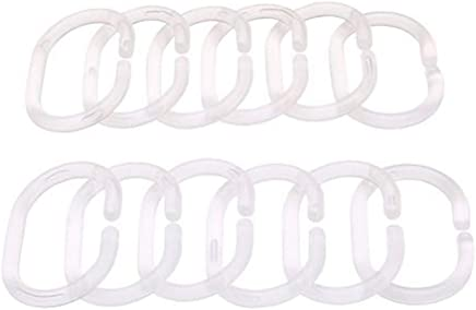 Ogquaton Anneau douverture de Rideau de Douche Durable Anneaux de Rideau de Douche en Plastique Crochets Accessoires de Bain pour tringles de Douche de Salle de Bains Utilisez 12 Paquets Blanc