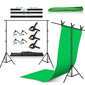 ZUOCHEN 6.6x10Ft Backdrop Stand and 6.6x6.6Ft T-Shape Background Stand 6x9Ft Green Screen Muslin Backdrop Adjustable Photo Backdrop Stand Kit with Spring Clamps for Photography Videos/Game Live/Studio