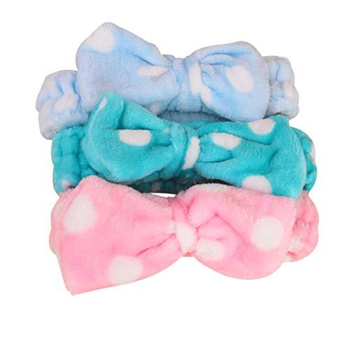 Minkissy Make-up-Stirnbänder mit Schleife, kosmetisches Haarband, Flanell, Headwraps für Frauen, Duschzubehör, 3 Stück