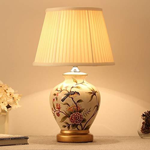 Yankuoo Grote klassieke keramische en antieke messing tafellamp met klassieke kap (H: 52 cm)