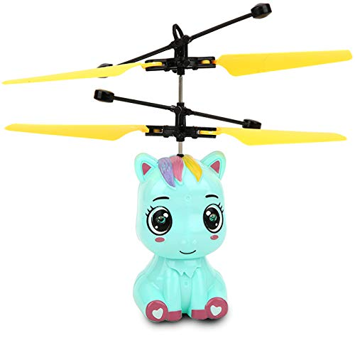 Yinuoday Rc Helicopter Flying Toys, Flying Ball Cartoon Toys with LED Lights Hand Remote Control Helicopter for Kids Mini Drone Parachute for Boys Girls Gifts
