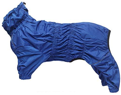 Chubasquero para perros con cuello alto impermeable impermeable para perros reflectante de cuatro patas ropa de lluvia mono para cachorros perro pequeño mediano - azul - XXL