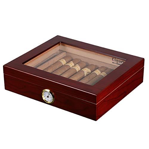 Volenx Zigarren Humidor mit Hygrometer für ca. 30 Zigarren, Braun