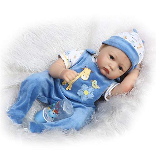 SXFJF Reborn Babypuppe, 55 cm, große Größe, weicher Körper, Baby-Puppe für Mädchen und Jungen, Spielzeug, lebensechte weiche Vinyl-Babypuppen mit Daunensyndrom und beweglichen Gliedmaßen, blau