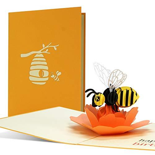 Geburtstagskarte HappBEE Birthday, witzig, fröhlich | Pop up Karte Geburtstag mit 3D Biene auf Blume | Glückwunschkarte oder Gutschein zum Geburtstag, G27