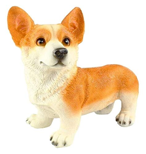 DWhui Simulation Corgi Dog Resin Statue Outdoors Statues Crafts Ornaments Garden Animal Decorative Sculpture (Color : Yellow)