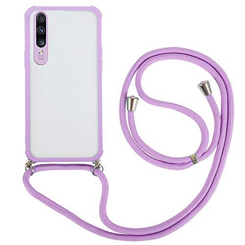 FMPC Compatible para Funda Cuerda Samsung Galaxy A70, Moda y Practico Carcasa de TPU Transparente Case con Colgante/Cadena Cordón Correa Ajustable - Púrpura