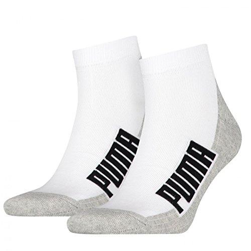 PUMA Unisex Cushioned Quarter Socken 4er Pack, Größe:43-46;Farbe:White/Grey/Black