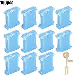 100 Pcs Plastic Thread Card Bobbins Thread Winding Boards with 1pc String Winder for Stitch Embroidery