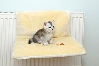 Chat Peluche Hamac suspendu chaise longue Radiateur chat lit canapé chat Hamac pour chaque Radiateur Convient stable 10kg lavable à 30°C Taille 46x 32cm