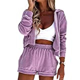 Women's Casual Clothes Workout Hooded Tracksuit Long Sleeve Zip Up Jacket Solid Color Shorts Pant Set (Purple, Large)