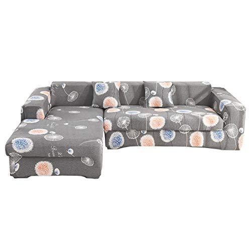 NOBCE Juego de Fundas de sofá elásticas de algodón Fundas de sofá universales para Sala de Estar, Mascotas, sillón, sofá de Esquina, Funda para sofá de Esquina 235-300CM