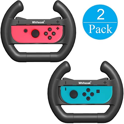 Whiteoak Joy-Con Wheel [Upgraded Version] (Set of 2) Accessories kit Attachments Steering Wheel for Nintendo Switch Controller(Black)