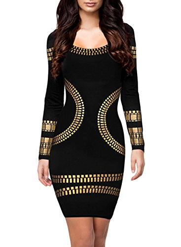 Miusol Women's Cut out Long Sleeves Kim Egypt Gold Foil Print Cocktail Dress Black M