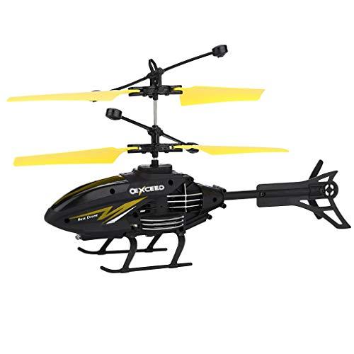 CMOM RC Helikopter, Ferngesteuertes Hubschrauber Fernbedienung Helicopter Mini Infraed Flugzeuge Blinklicht Spielzeug Hobby Mini Flughubschrauber Flugzeug Spielzeug Geschenk für Kinder (Gelb)