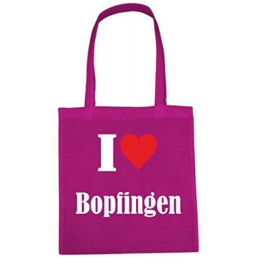 Tasche I Love Bopfingen Größe 38x42 Farbe Pink Druck Weiss
