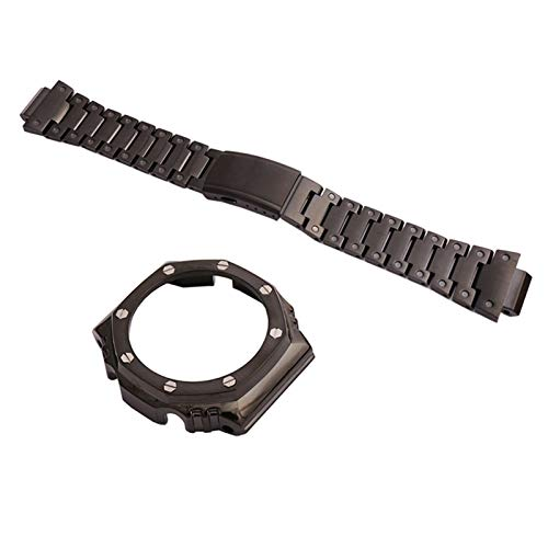 HGGFA Correa negra de acero inoxidable modificada para relojes GA2100 para deportes al aire libre, impermeable, correa de reloj hembra (color de la correa: caja 2, ancho de la correa: GA2100)