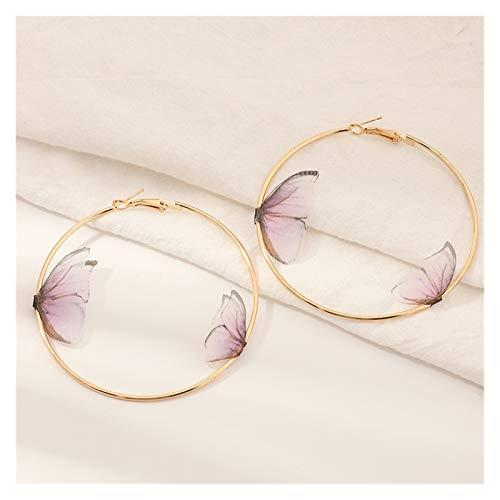 FKJSP Hermosos pendientes de mariposa dobles europeos de verano para niñas, multicolor, gran círculo redondo, dorado, aretes de aro para mujer (color metal: rosa)