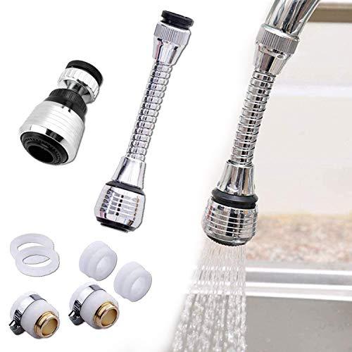 [2 Stück] Wasserhahn Verlängerung, Wasserhahn Schlauch, 360 ° drehbarer Wasserhahn, Filter Küchendusche. Schaumdüsen für Wasserhähne in Küchen und Toiletten.
