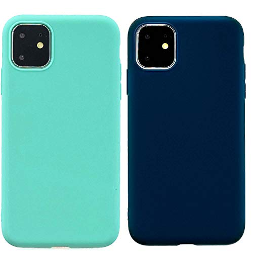 2Pack Phone Case Compatible for iPhone 11 PRO 5.8inch(2019) Case Slim Fit TPU Matte Surface Ultra Thin Phone Lightweight Protective Back Cover for iPhone 11 PRO 5.8inch(2019)-Teal+Dark Blue